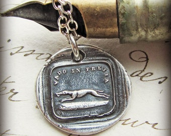 Greyhound Italian Wax Seal Necklace - I Go FAST! - Loyalty and Vigilance - Dog Pendant - Dog Necklace - IS220
