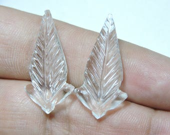 2 Pieces Very Beautiful Natural Rock Crystal Quartz Hand Carved Leaves Shaped Loose Gemstone Size 30X15 MM