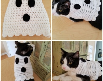 Ghost Cat Sweater/Costume- Halloween costumes for cats- Ghost Cat- Clothes for Cats