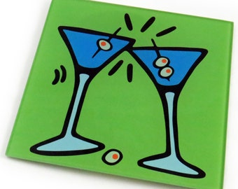 Martinis Tempered Glass Trivet/Hot Plate