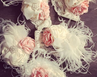 Pink feather shabby lace headband