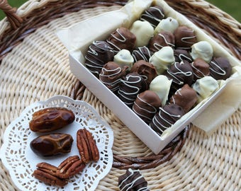 Chocolate Dipped Dates, with or without Nuts, 200 gram or 8 oz Bag half pound bag