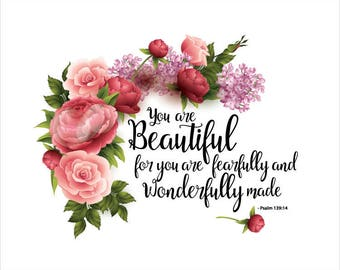 Scripture Floral Pink Roses, 8X10 Wall Art You Are Beautiful For You ...Psalms 139:14