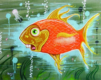 Goofy Goldfish original character painting by Michigan Artist Dennis A!