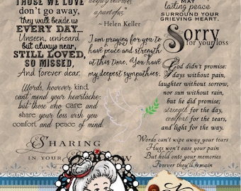 Sympathy 2, Condolences, Sorrow, Word Art, Sentiments, Photography Overlays, Instant Download Digital Digi Stamps ID:NV-WA0060 By Nana Vic