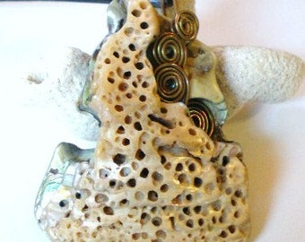 Mother of Pearl Pendant with Copper Wire Spirals Abalone Necklace on Black Leather Cord