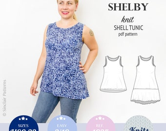 Tank top pattern pdf / sewing pattern for women with sewing tutorial / Plus size