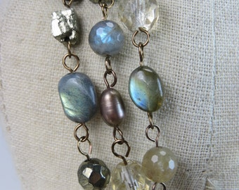 Long pearl pyrite, labradorite antique gold wrapped double necklace, chunky clasp, crystal long boho necklace