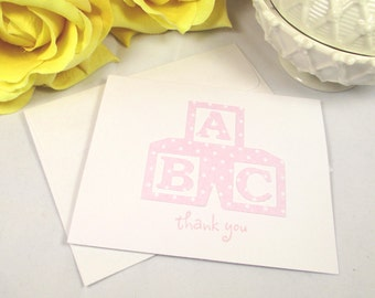 Thank You Cards Baby - Baby Cards - Baby Shower Cards - Welcome Baby Cards - Pink Baby Blocks Cards - Baby Thank You Note Cards