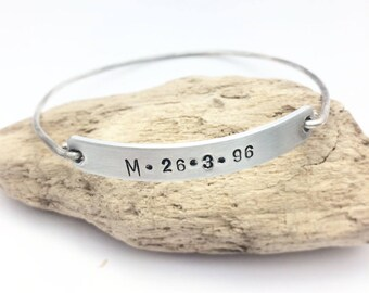 Engraved Bangle with letter and date, personalized cuff, motivational cuff, nameplate bracelet, kids name bracelet, coordinates bracelet