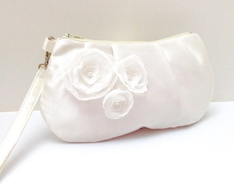 Bridal Clutch Purse Bridesmaid Pleated Wristlet Ivory Cream Satin with Flowers
