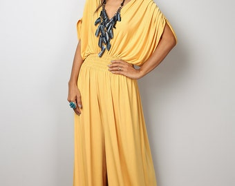 Jumpsuit - Yellow Jumpsuit - Jumper Maxi Dress with Kimono Top : Chic & Casual Collection