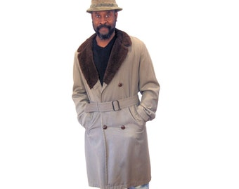 60s Double Breasted Overcoat, 1960s Twill Belted Coat M L, Brown Faux Sherpa Collar Coat, Men's Vintage Trench Coat, Medium Large
