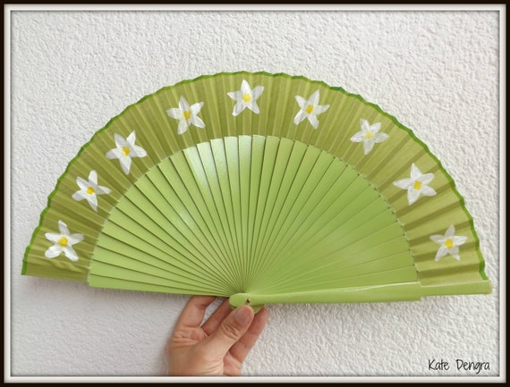Spring Grass Green Floral Flower Hand Handheld Folding Wooden Flamenco Fan by Kate Dengra Spain Facher Ventaglio