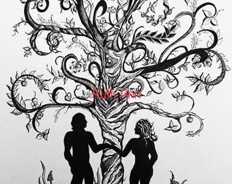 11x14 Zendoodle Adam and Eve, Garden of Eden, tree, flowers, zendoodle , black and white, pen and ink, god, unique, digital download