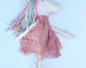 One custom made-to-order UNICORN fabric doll