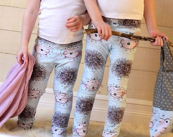 Sea urchin and puffer fish leggings / Collaboration with Mes amis imagnaires / Leggings for kids aged 3 to 10 / Sublimation Print