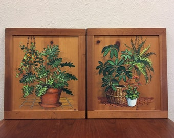 Vintage Painting on Wood Original Art Botanical Paintings by Artist J. Weir with 3 Dimensional Texture, Houseplant Paintings, Vintage Painti
