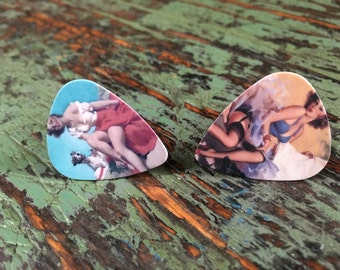 oops item** Vintage pinup guitar pick cufflinks /Grooms cufflinks / Custom cufflinks / Boutons de manchette  /Bucks party