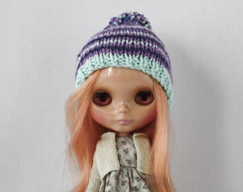 Lily Hat knitting PATTERN - cute striped doll bobble hat toque knit cap - instant download - permission to sell finished objects