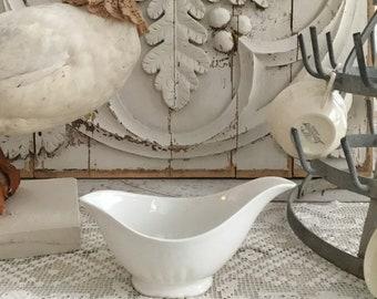 Antique French White Porcelain Gravy Boat