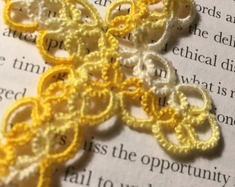 Tatting - Yellow and white variegated Tatted Cross Bookmark