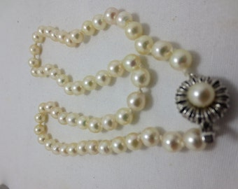 LARGE CULTURED PEARL necklace  -hand knotted with an ornate clasp 1960's