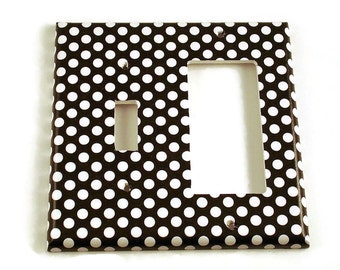 Black and White Polka Dot Combo Light Switch Cover Wall Decor Switchplate Switch Plate in  Polka Dots Rock (207TRC)