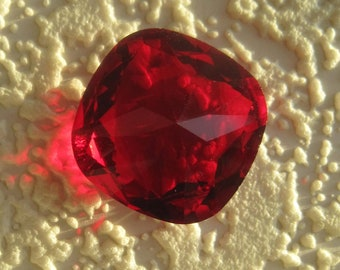 Swarovski Crystal, Art 4470, 23x23MM, Huge, Rare, Cushion Cut, Square, Fancy, Rhinestone, Light Siam, Red, UNFOILED, 23MM
