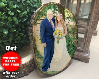 Fathers day gift, Dad gifts, Picture on wood, Wood slice, Wood photo transfer, Top selling items, Fathers Day Frame First fathers day