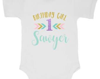Boho inspired girls birthday shirt