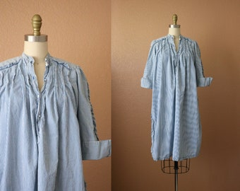 1960's cotton railroad stripe muumuu