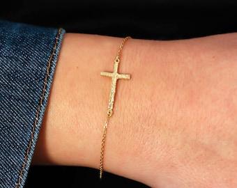 Cross Bracelet, Gold Cross Bracelet, Dainty Cross Bracelet, Dainty Gold Bracelet, Gold Stacking Bracelet, Mothers Day Gift, SB0147
