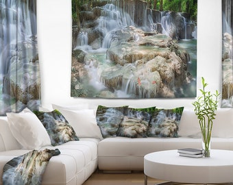 Designart White Huay Mae Kamin Waterfall Landscape Photography Wall Tapestry, Wall Art Fit for Wall Hanging, Dorm, Home Decor