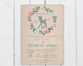Enchanted Forest baby shower invitation, baby deer invitation, forest baby shower, printable baby shower invitation, printable