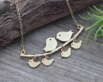 Gold Love bird Necklace, Family Birds, Gold bird Necklace. Gold Bird Necklace - Anniversary Gift, Grandmother necklace. Mothers day necklace