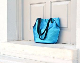 Metallic blue leather tote