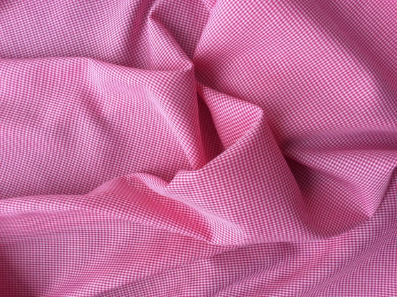 Cotton poplin, hot pink check weave