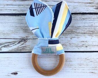 Nautical Organic Maple Wood Teether | Teething Toy | Nautical Teether | Baby Gift | Baby Shower Gift | Organic Baby Toy | Sailboats Baby Toy