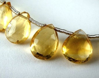 Citrine Pear Briolette, Faceted Gemstone, 4 pcs FOCAL BEADS for Pendants,  Wholesale Beads, Brides, 10-11mm,