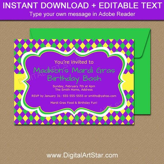 Mardi Gras Birthday Invitation Template EDITABLE Mardi Gras - Purple birthday invitations template