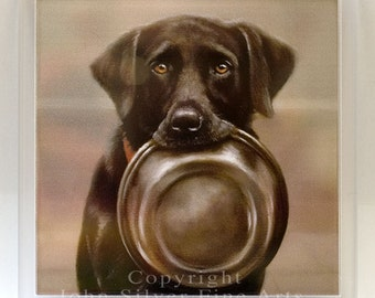 Coaster, Black Labrador Retriever. From an Original Painting by JOHN SILVER. Blc001
