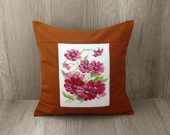 Cosmos pillow Summer cross stitch throw pillow Floral embroidered cushion Pink needlpoint decorative pillow 16 x 16 (40 x 40) mustard cover