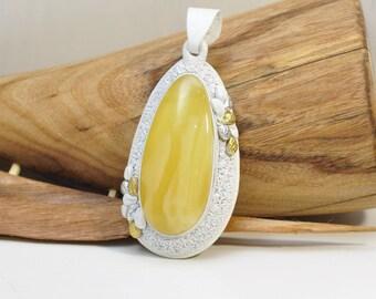 Baltic amber, yellow, white, pendant, natural, real amber