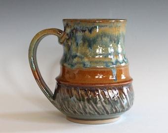 Pottery Mug, 12 oz, unique coffee mug, handmade ceramic cup, handthrown mug, stoneware mug, wheel thrown pottery mug