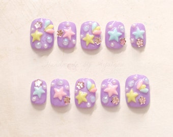 Short nails, pastel nail, kawaii nail, 3D nails, purple nail, lilac, shooting star, lolita accessory, sweet lolita, fairy kei, Japanese nail