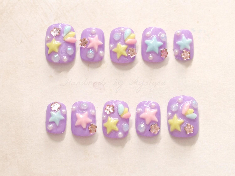 Short nails, pastel nail, kawaii nail, 3D nails, purple nail, lilac ...