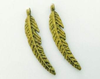 2 Feather Charms,  Gold Feather charms, shimmer charms, fall, autumn charms, USA charms