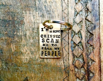 I'm MICRO CHIPPED Scan Me to Find My People Family Mom Dad. I'm Chipped Dog Tag. CUSTOM Phone Number Pet Tags. Vintage Inspired Pet Tags™