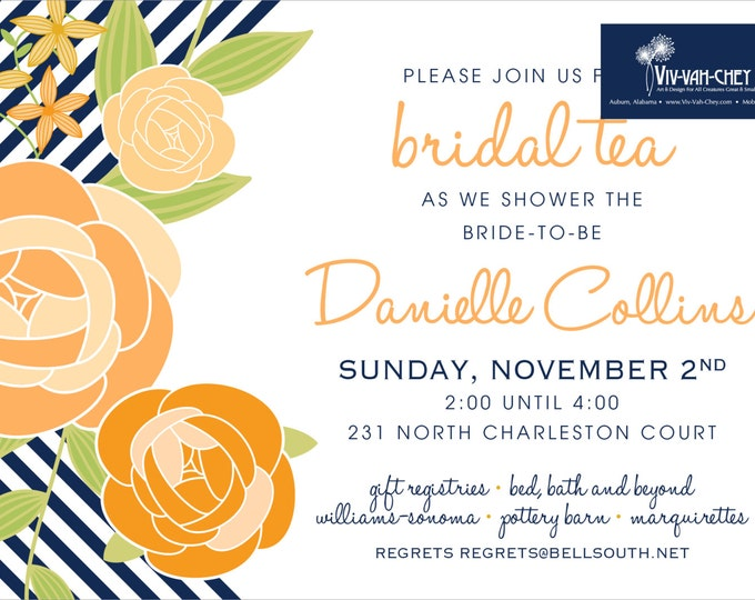 Orange & Navy Rosette Party Invitation | Digital Download